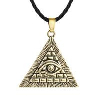 collar piramidal egipcio al por mayor-A21 Vintage Ancient Pyramid Pirámide Egipcia All-Seeing Illuminati Pendnat Necklace para Hombres y Mujeres