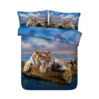Wholesale tiger 3d bedding set resale online - 3D Ocean tiger Print Duvet Cover Set Bedding with pillowcase Microfiber Quilt Cover Zipper Closure