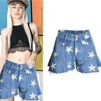 6c76c78de 2019 women clothing high waist star print washed pure cotton short jeans  Female fashion casual loose wide leg denim shorts SL062