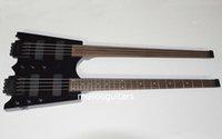 cordes de guitare sans fret achat en gros de-custom shop Guitare électrique sans tête noire Double cou 4 cordes Guitare électrique fretless