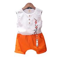 Wholesale plum suits resale online - Kids Clothing Sets Kids Designer Clothes Sleeveless Round Neck Button Decoration Plum Embroidery Tops Two Piece Suit Pocket Solid Pants