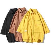 herren schwarze hemdtasche großhandel-Street Männer Shirts Streifen Männer Halbarm Hemd-Tasche Sommer-Schwarz-Gelb Braun Hemd der Männer