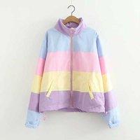 casacos curtos bonitos venda por atacado-Novo Verão Mulheres Jaqueta crop top Harajuku kawaii doces bonito rainbow jacket correspondência cor jaquetas curtas casaco com capuz feminino