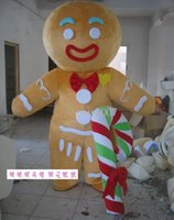 дешевые королевские синие пkers for windows оптовых-Gingerbread Man Mascot Costumes Cartoon Apparel Birthday Party Fancy Dress Christmas for Halloween party event