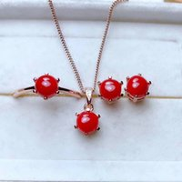 серьги из красного коралла оптовых-shilovem 925 sterling silver real Natural red coral pendants rings earrings women plant party send necklace gift mtzj0606ze0606