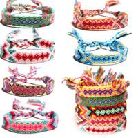 Wholesale handicraft bracelet resale online - Fashion lady Accessories Styles Nepalese National Wind Bracelet Weaving Handicraft Rainbow Lucky Transit Friendship Bracelet H683F A