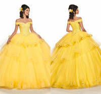 Yellow Tiered Skirt Off Shoulder Ball Gown Sweet 16 Dresses Embroidery Beading Crystal Tulle Corset Back Prom Dress Vestidos De Quinceanera