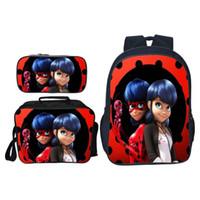 sacs d'école de paisley achat en gros de-Vente chaude 3Pcs / set Cartoon Impression Miraculous Ladybug Filles Épaule Sac À Dos Enfants Sacs D'école Enfants Bookbag Adolescent Cartable