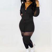 ingrosso vestito sexy del foro-Casual Donne sexy strappato foro della maglia con cappuccio Pullover pantaloni della tuta 2 pezzi delle tute sportive Abiti Set vestito della tuta 2020