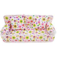 muebles de casa de muñecas muñecas al por mayor-Juguete regalo de la manera Mini flores de tela Sofá Con 2 completo Cojines dormitorio Dollhouse para la muñeca Barbie la muñeca de bebé Niños