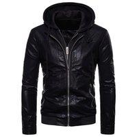 поддельная молния оптовых-Поддельные 2-х частей мужская молния с длинным рукавом с капюшоном искусственная кожа тонкий куртка пальто хип-хоп