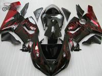 carenado para kawasaki ninja rojo zx6r al por mayor-piezas de la motocicleta para Ninja ZX6R 2005 2006 636 ZX 6R camino deporte de Kawasaki ZX6R 06 05 carenados ABS llamas rojas de plástico carenado kits
