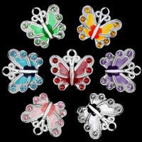 ingrosso scivolo farfalla per braccialetto-Piccola farfalla smalto di fascino perline fai da te per gioielli che fanno collana pendente portachiavi braccialetto 7 colori charms perlina colore della miscela