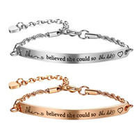 Wholesale id bracelet for sale - Group buy BONISKISS she believed she could so did Bracelets Length Adjustable Stainless Steel ID Chain Charm Bangle for Women Girls