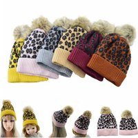 Wholesale fur family for sale - Group buy Parent child family Beanies Leopard warm fleece Soft Skull Cap pom pom baby Knitted hats Faux fur ball winter knit kid Earflap Cap LJJA2827