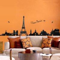 papier peint eiffel achat en gros de-Tour Eiffel Stickers Muraux Décoratifs Enfants Chambre Salon Art Decal Amovible Papier Peint Mural Autocollant pour Chambre Filles Adhésif