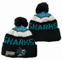 bonés de futebol preto venda por atacado-New Gorros Sharks Hockey 2020 Hot Knit Beanie Pom malha chapéus pretos Futebol Baseball Basquete Esporte Gorros Mix Jogo Order Todos os Caps