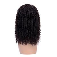 cheveux brésiliens remy jerry curl achat en gros de-Perruques avant de lacet plissés brésiliens Jerry Curl Blanchis Noeuds Naturel Couleur Perruque perruque de cheveux humains avec des cheveux de bébé pour femme noire