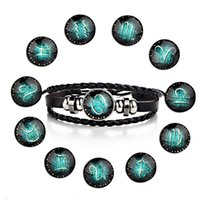 ingrosso bracciali zodiaco per gli uomini-MODA 12 Costellazioni Segno zodiacale in pelle con perline Bracciali per uomo Braccialetti regolabili Regali per gioielli per ragazzi