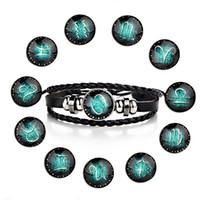 12 zeichen tierkreis großhandel-MODE 12 Konstellationen Leder Sternzeichen mit Perlen Armreif Armbänder für Männer Jungen verstellbares Armband Schmuck Geschenke
