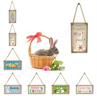 Wholesale chicken ornaments resale online - 10x20cm Wooden Easter Flag Pendants Cross Hanging Craft Happy Easter Bunny Rabbit Hang Ornament Cartoon Rabbit Chicken Pendant Decors D1901