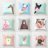 Wholesale giraffe home decor for sale - Group buy Cartoon Animal Decorative Throw Pillow Case Cushion Cover Home Decor Giraffe Sofa Car Waist x45cm Llama Alpaca Party