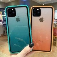 силиконовый чехол для iphone оптовых-Градиент Случаи Акриловые Силиконовые цвета радуги для iPhone 11 Pro Max 6 7 8Plus X XR XS MAX