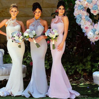 Wholesale wedding guests elegant dress resale online - 2019 Elegant Long Mermaid Pink Bridesmaid Dresses Sweep Train Wedding Guest Evening Prom Gowns special occasion dresses robe de mariée