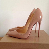 sapatos femininos nu venda por atacado-Então Kate Mulheres Red Bottom Sapatos de Salto Alto Preto Nude Dedo Apontado Sapatos Femininos de Couro de Patente Senhoras Bombas Stiletto Pigalle Sapatos De Noiva