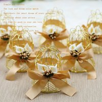 Wholesale birdcage bell resale online - 7 cm Europe Creative Gold Tin Birdcage Favor Boxes Small Bell Wedding Sweet Candy Box