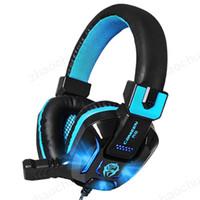 micro juegos pc al por mayor-Canleen Stereo Gaming Headset Sonido envolvente Auriculares de juego sobre la oreja con cancelación de ruido Mic Luz LED para PC Teléfono Ordenador portátil Envío gratis