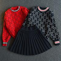 baby mädchen roten pullover großhandel-SpringAutumn Volle Druckmuster Baby Mädchen Strickpullover Top + Schwarz Rock Kinder Kleidung Set für Mädchen Marken Rote Kleidung