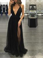 vestido sem costas de gola alta preta venda por atacado-2019 New Modest Alta Moda Preto Sexy Prom Vestidos Profundo Decote Em V Backless Side Dividir Backless Tulle Vestidos de Desgaste da Noite Vestidos de Tapete Vermelho