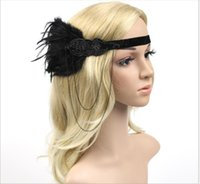 Wholesale white hair flowers rose resale online - Fringed feather headdress Racing Club Headband