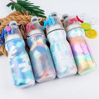 enfriador de agua deportivo al por mayor-470 ml Portátil Mist Spray Botella de Agua para niños Deportes Verano Enfriamiento Viaje al aire libre Senderismo Camping Ciclismo plástico spray taza FFA2061