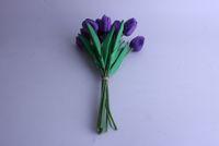 tulipas roxas artificiais venda por atacado-Atacado Natural Olhando PU Roxo Cor Real Toque Tulipas Flor moda flor artificial venda direta da fábrica