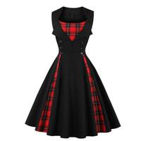 tartan çizgili elbiseler toptan satış-S-5XL Kadınlar boyutu büyük tartan elbise Yaz Tunikler Vintage Kolsuz Kırmızı Ekose Baskı Düğme Rockabilly parti seksi Pin up elbise