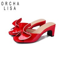 3f9b75b75 Wholesale butterfly flip flops for sale - ORCHA LISA Summer Women Patent  Leather Slippers Mules Butterfly