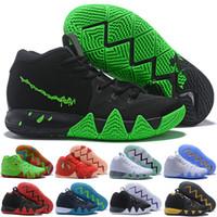 cadılar bayramı için ayakkabı toptan satış-Kyrie IV Yeşil Şanslı Charms Cadılar Bayramı Erkek Basketbol Ayakkabı satılık 4 Spor Eğitim Sneakers Toptan Bırak Gemi