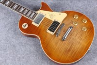 Wholesale guitar sunburst vos for sale - Group buy Custom Shop R9 VOS Light Brown Cherry Sunburst Jimmy Page No Electric Guitar Tiger Flame Maple Top Cream Switch Plate Tulip Tuners