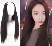 Wholesale u shaped hair wigs for sale - Group buy Fashion U shaped Wig Half head Set Female Long Straight Hair Invisible No Trace Chemical Fiber Wig jooyoo