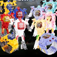 relógio da máquina venda por atacado-novo 2019 alarme deformação criativa relógio relógio car221 robô de brinquedo máquina história luz robô dos desenhos animados deformação das Crianças