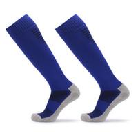 uzun pamuk fişleri toptan satış-Anti Kayma erkek Erkek Futbol Çorap Futbol Spor Koşu Uzun Çorap Bacak Sıkıştırma Streç Diz Yüksek Kalın pamuk Çorap