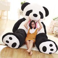 аниме панда плюшевые оптовых-JUMBO приятный мультфильм улыбающийся панда плюшевые игрушки огромный фаршированные аниме панды кукла диван татами подарок украшения 260 см 160 см