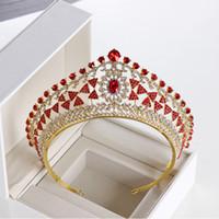königskrone gold großhandel-Luxus Full Circle Tiaras Pageant Klar Österreichischen Strass König Königin Prinzessin Kronen Hochzeit Braut Kronen Party HeadPieces 5 Farbe