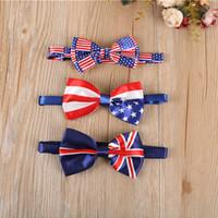 ingrosso bandiera britannica britannica-5 colori stile britannico bambino stella banda cravatta bambini UK bandiera americana cravatta moda bambini papillon caldo c6471
