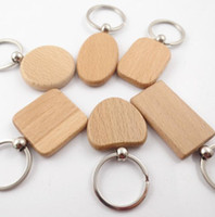 Wholesale favor round bag resale online - Wooden Keychain Blank Wood key chain Car Bag Pendant A variety of shapes round square heart Key Ring Party Favor GGA2773