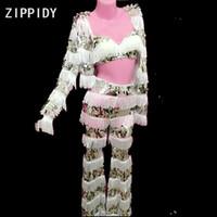ingrosso reggiseno bianco sequin-Pantaloni nappa bianca con paillettes e bretelle di lana Pantaloni da donna cantante ballerini in 3 pezzi Set di indumenti da notte per feste da ballo