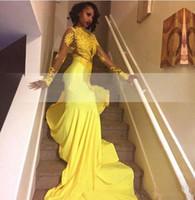 largos vestidos bonitos al por mayor-2019 real Pretty Yellow African Lace Appliqued Sudáfrica vestido de fiesta sirena manga larga banquete fiesta de noche vestido por encargo más tamaño