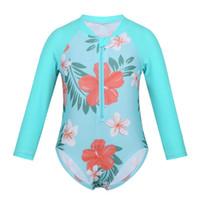 kleinkinder kinder bademode großhandel-FEESHOW ToddlerInfant Baby Girl Bademode Langarm Floral Sun Suit Kinder Badeanzug Kinder Badeanzug 2019 Sommer